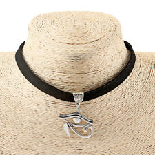 A Black 10mm Flat Suede Choker Eye of Horus Ra Charm Necklace Egyptian Jewelry