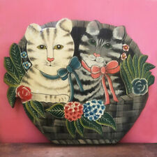 More details for cats folk art wall hanging wooden painting haitian handmade floral basket bow