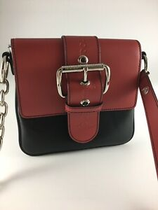 VIVIENNE WESTWOOD SMALL BLACK RED LEATHER ALEXA CROSSBODY SHOULDER BAG BNWT