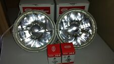 ANGEL EYE LED WHITE HALO RINGED 7 INCH QH H4 HALOGEN UNIVERSAL HEADLIGHT SET