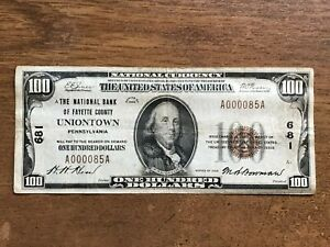 Uniontown PA The National Bank of Fayette County 1929 $100 National Banknote