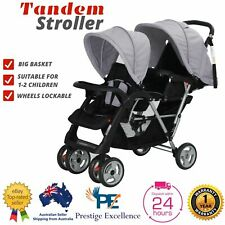 New Tandem Pram Twin Stroller Baby Double Seat 2in1 Folding Kids Grey Pushchair