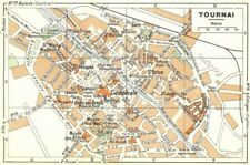 BELGIUM. Tournai 1950 old vintage map plan chart
