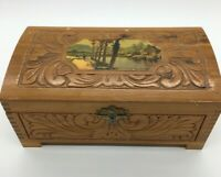 Vintage Wooden Ornate Jewelry Music Box Tales of Vienna Woods Works Box Damage