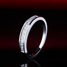 Solid 14k White Gold Half Eternity Ring  Engagement Wedding Band Pave 0.29ct