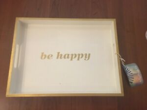BRAND NEW BE HAPPY WHITE AND GOLD SERVING TRAY