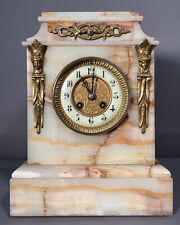 Ca.1900 Antique French Old Japy Freres Figural Bronze Lady Bust Alabaster Clock