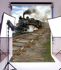 5x7FT train track Photography Backdrop Background Studio Prop