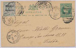 MOROCCO AGENCIES 1905 QV postal stationery postcard uprated w EVII PORTUGAL