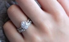 2 CT Signity Diamond Oval Shape Engagement Ring Wedding Bridal Ring Set All Size