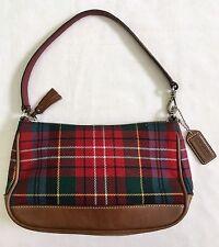 Coach Red Wool Tartan Plaid Leather Mini Handbag Wristlet