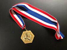 "vintage karate gold medal red white blue neck drape award 2 3/4"""