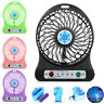 Portable Rechargeable 3 Mode LED Light Fan Air Cooler Mini Desk USB Fan Charging