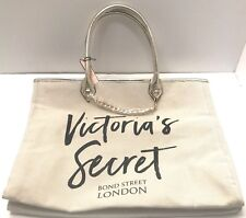 "VICTORIA'S SECRET BOND ST LONDON WHITE TOTE SHOPPING BAG 25.5""L x 9""W x 14""H NEW"