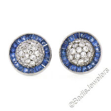 Vintage Platinum 1.45ctw Round Diamond Dome Baguette Sapphire Halo Stud Earrings