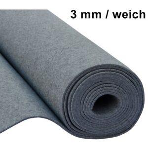 Filz Taschenfilz Basteln 0,5lfmMeterware 3mm stark 1,5m breit weich soft Grau