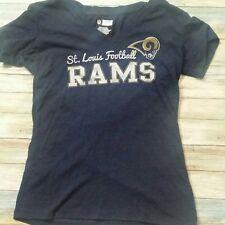 NFL St. Louis Rams Football Shirt Graphic Tee Blue Short Sleeve Womens Size L