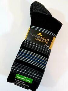 Gold Toe Men's Performance Socks Crew 3 Pair Black Gray Large Moisture Control