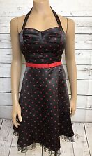 City Triangle Black Red Polka Dot Dress Crinoline Rockabilly Pinup VLV Sz 9