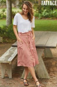 Womens Fat Face Skirt Kate Linen Blend ORG-AMBER Ladies RRP £42.00 Size 8