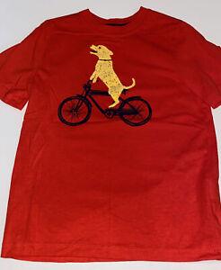 Hanna Andersson Boys Orange Dog on Bicycle Tee Size 120 6-7 EUC