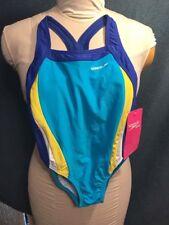 Speedo one piece Swim / Bathing suit blue / yellow stripe sz  6