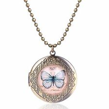 Luxury Vintage Style Bronze Blue Butterfly Round Photo Locket Pendant Chain N528