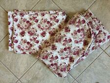 Ivory w/ Burgundy Flowers Flat & Fitted Twin Sheets Set Cotton Blend bx37