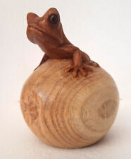 Unusual Hand Carved Wooden Frog on Apple Carving 10cm  wood Frog Ornament