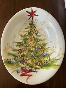 Pottery Barn Large Serving Bowl Christmas Tree Pattern Holiday Retired Birds