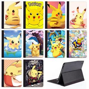 Cartoon Pikachu Protective PU Leather Stand Case Cover For Apple iPad Air Mini