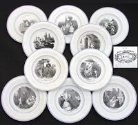 """Antique French Creil 10pc Cabinet Plate Set, """"L' Amour Partout"""" Figural Theme"""