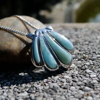 Natural Larimar Gemstone Shell 925 Sterling Silver Women's Necklace Pendant