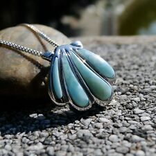 Natural Larimar Gemstone Shell Sterling S925 Women's Necklace Pendant