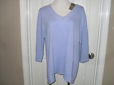 New Chico's Chloe Crochet Trim Top Blouse 3=16/18 XL Lt. Lavender NWT