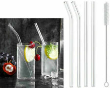 REUSABLE Glass Drinking STRAWS Eco Friendly With Straw Cleaning Brush Pack Of 4