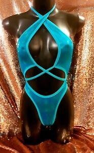 Exotic Dancewear Stripper Swimwear One Piece  Blue Thong
