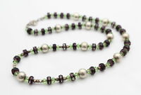 """Handmade Green and Purple Sterling Silver Bead Necklace 18"""""""
