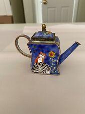Metal Enamel Cat Teapot by Kelvin Chen in 2000. No. 1342, Dark blue background