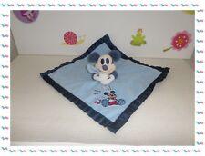 U - Grand Doudou Plat Mickey Mouchoir Couverture  Brodé Bleu  Nicotoy Disney