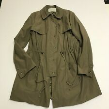Thakoon Addition Tie Waist Collared Zip Button Up Windbreaker Trench Coat Jacket