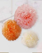 3x Pastel Papel Decoración para Colgar Mullido Borlas Melocotón Rosa Marfil