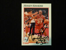 HERSEY HAWKINS 1991-92 NBA HOOPS SIGNED AUTOGRAPHED CARD #161 76ERS