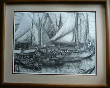 $295 OR BEST!! VINTAGE RODECKER PRINT REALISM REALIST ETCHING BOATS HARBOR HAITI