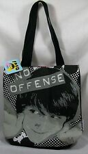 "Fred Black Grey & White ""No Offense"" Face Tote Bag *New with Tags"