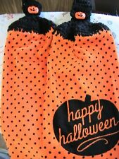 HAPPY HALLOWEEN Lot of 2~pumpkin buttons CROCHET TOP KITCHEN, BATH HAND TOWELS
