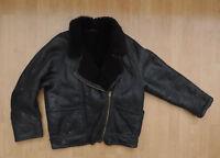 Women's Vintage Shearling Sheepskin Coat Long Jacket Flight Aviator Brown R11-2