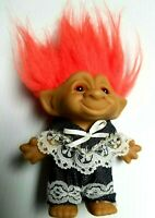 "Vintage Ace Troll Doll 4"" Orange Hair and Eyes Denim Lace Outfit Bow Novelty"