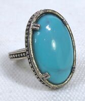 Vintage Chunky Silver Tone Oval Cabochon Turquoise Color Ring Adjustable Size 8
