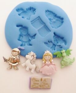 MYTHICAL, UNICORN, DRAGON, KNIGHT SILICONE MOULD FOR CAKE TOPPERS CHOC CLAY ETC